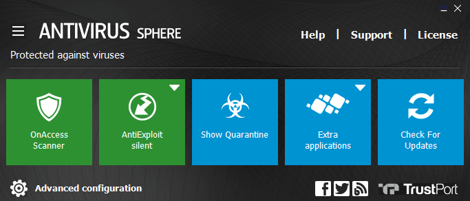 TrustPort Antivirus Sphere Screen shot
